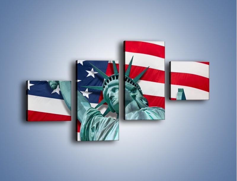 Obraz na płótnie – Statua Wolności na tle flagi USA – czteroczęściowy AM435W3