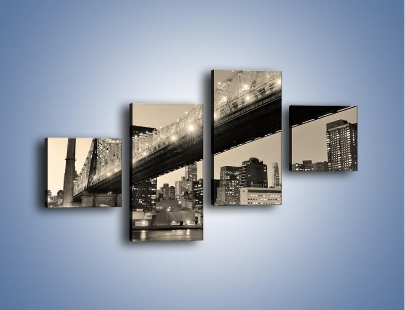Obraz na płótnie – Most Qeensboro w Nowym Yorku – czteroczęściowy AM438W3