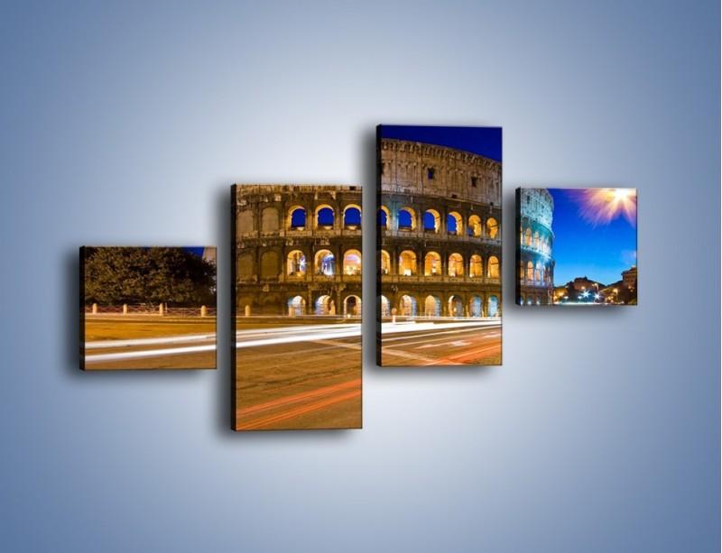 Obraz na płótnie – Koloseum po zmierzchu – czteroczęściowy AM443W3