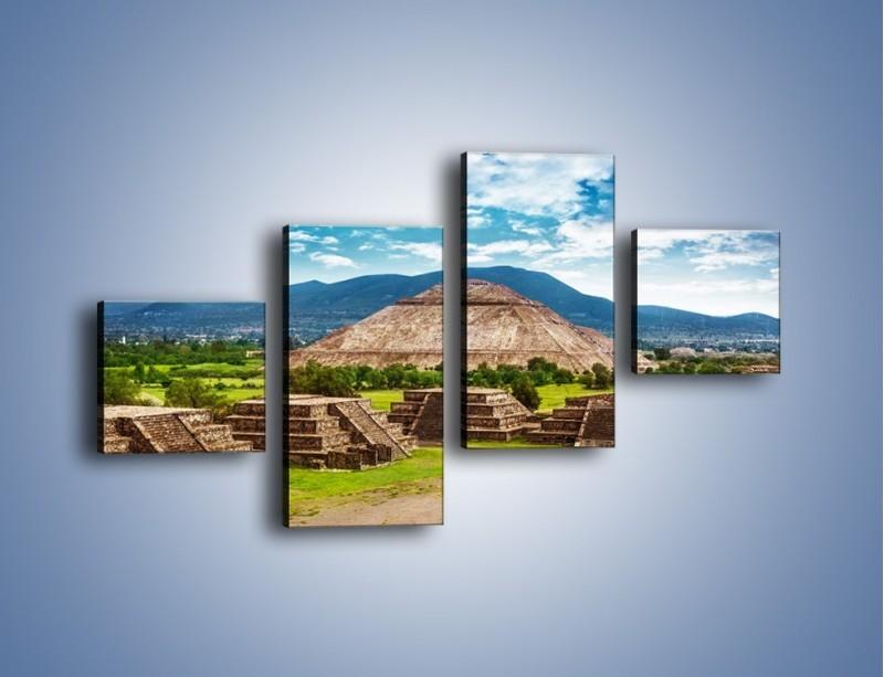 Obraz na płótnie – Piramida Słońca w Meksyku – czteroczęściowy AM450W3