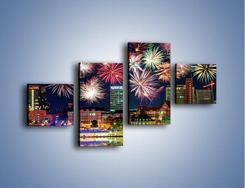Obraz na płótnie – Noworoczne fajerwerki nad miastem – czteroczęściowy AM452W3