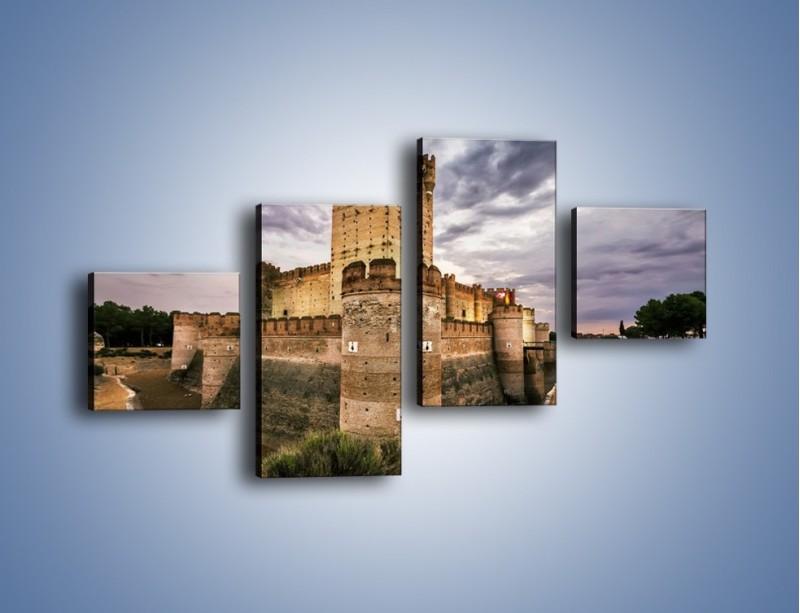 Obraz na płótnie – Zamek La Mota w Hiszpanii – czteroczęściowy AM457W3