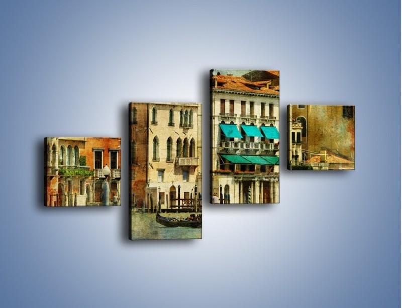 Obraz na płótnie – Weneckie domy w stylu vintage – czteroczęściowy AM459W3