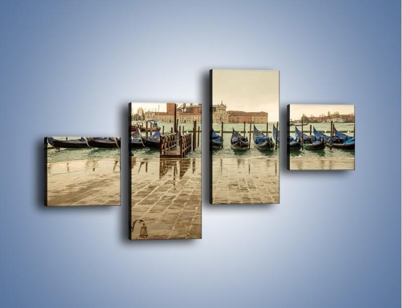 Obraz na płótnie – Zacumowane weneckie gondole – czteroczęściowy AM462W3