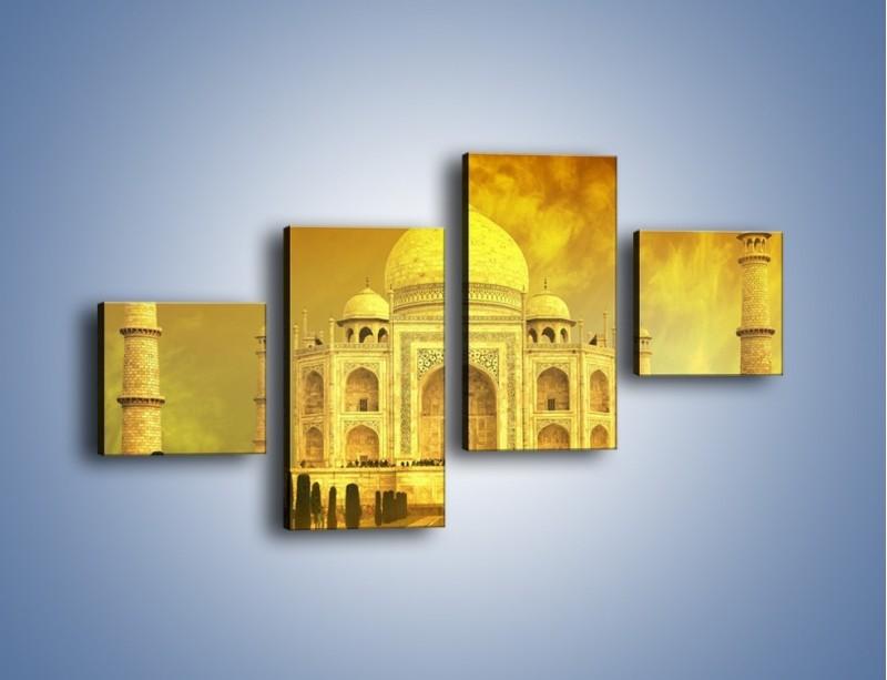 Obraz na płótnie – Tadź Mahal w żółtym kolorze – czteroczęściowy AM465W3