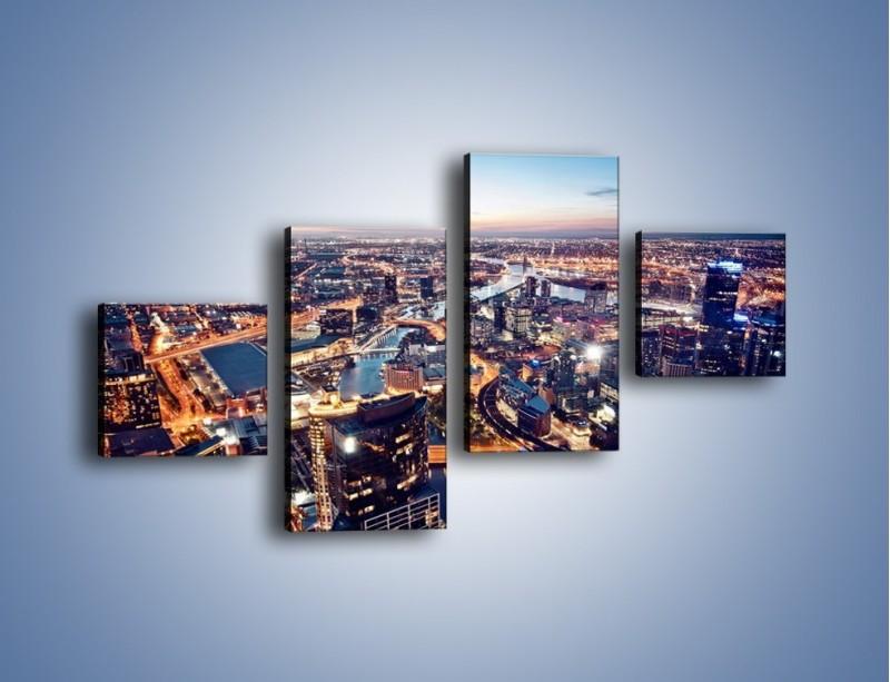 Obraz na płótnie – Panorama Melbourne po zmierzchu – czteroczęściowy AM470W3