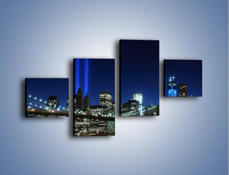 Obraz na płótnie – Most Brookliński nocą – czteroczęściowy AM476W3