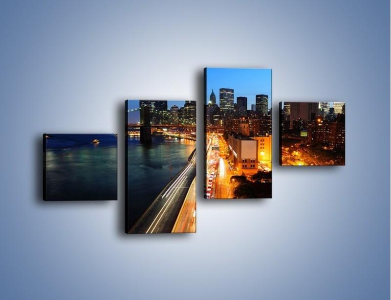 Obraz na płótnie – Manhattan wieczorową porą – czteroczęściowy AM477W3