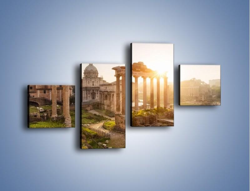 Obraz na płótnie – Rzymskie ruiny o zachodzie słońca – czteroczęściowy AM480W3