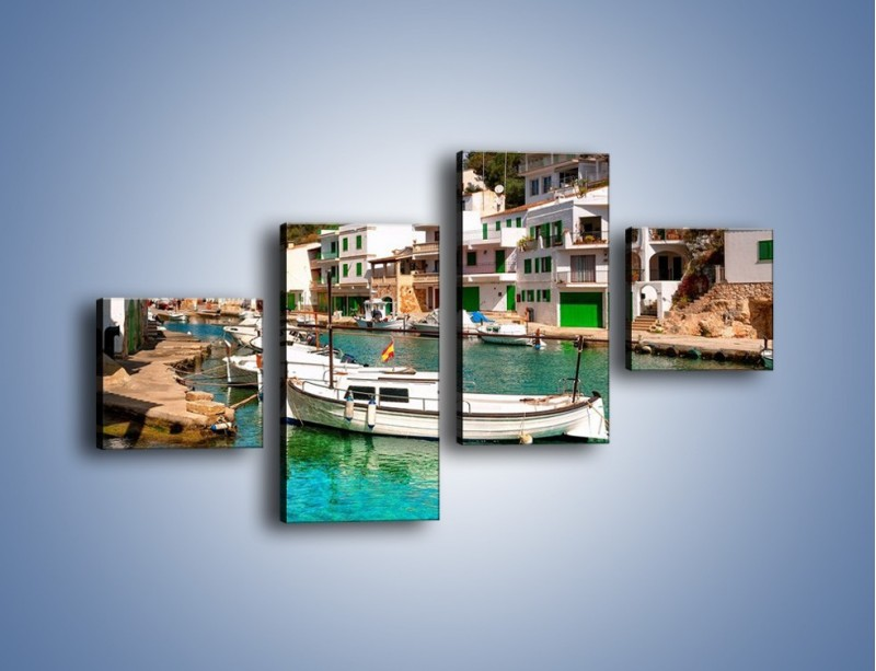 Obraz na płótnie – Domki nad wodą na Majorce – czteroczęściowy AM484W3