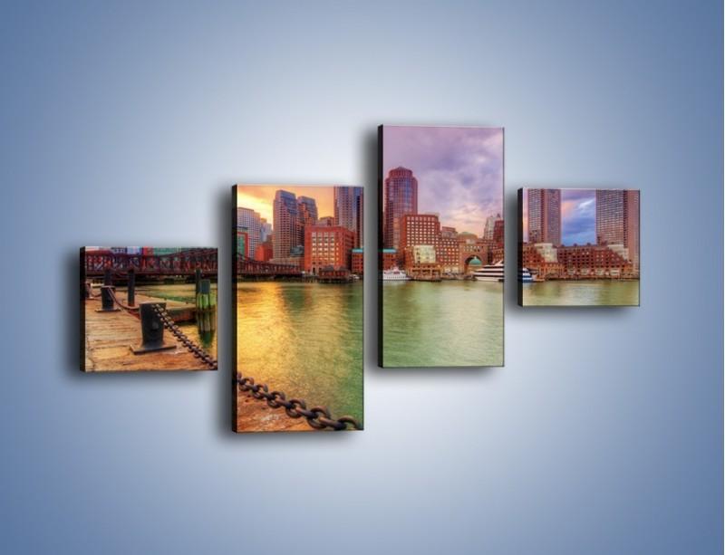 Obraz na płótnie – Widok na centrum Bostonu – czteroczęściowy AM486W3