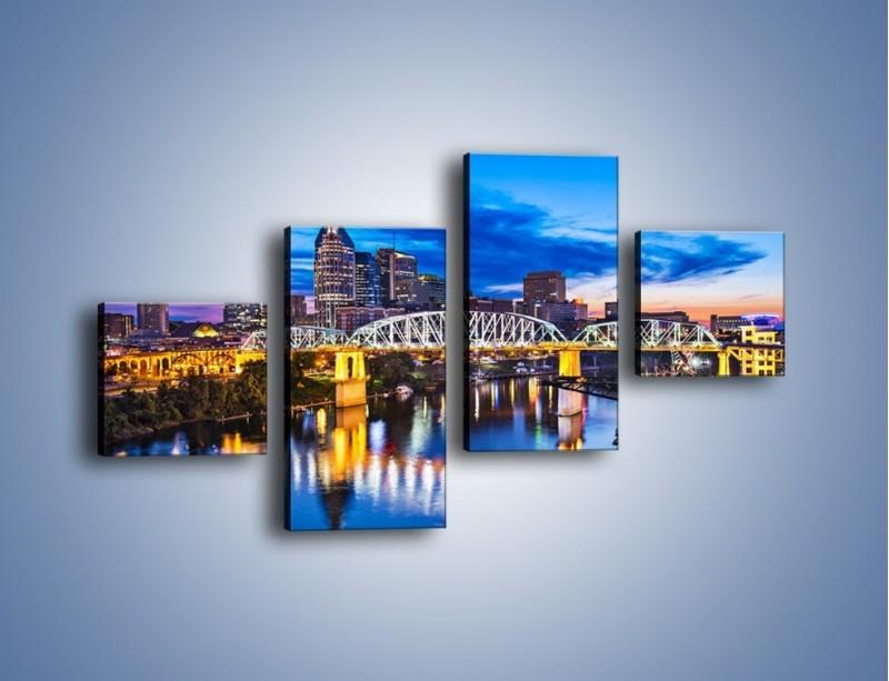 Obraz na płótnie – Most Shelby Street w Nashville – czteroczęściowy AM489W3
