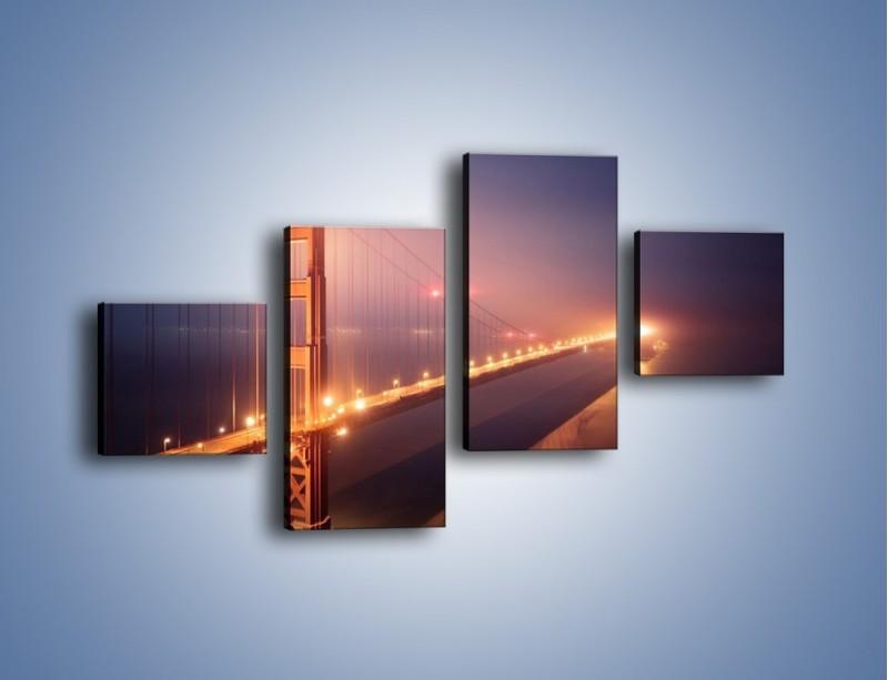 Obraz na płótnie – Most Golden Gate w nocnej mgle – czteroczęściowy AM490W3