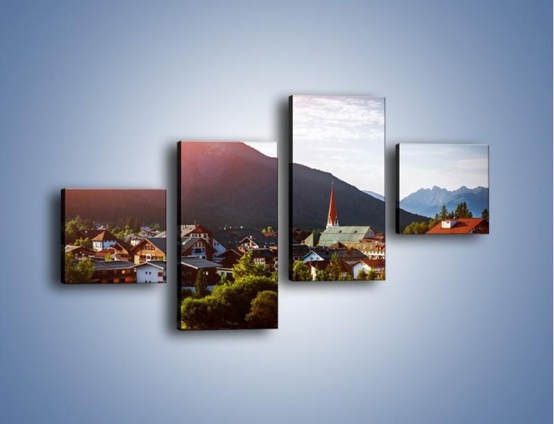 Obraz na płótnie – Austryjackie miasteczko u podnóży gór – czteroczęściowy AM496W3