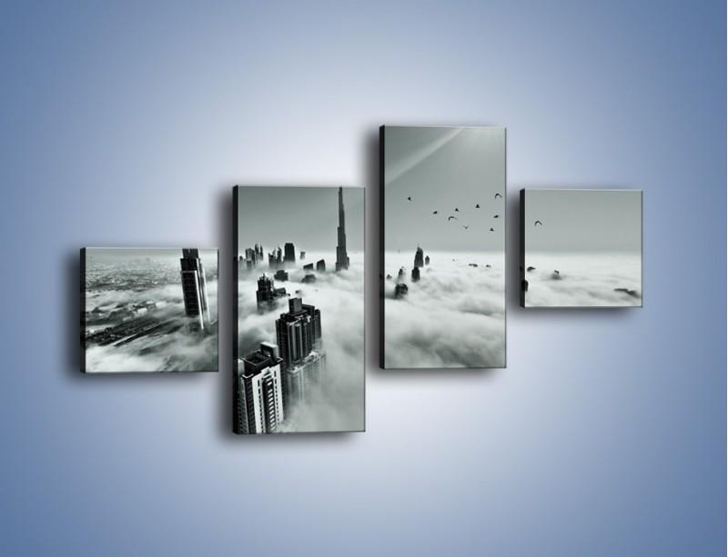 Obraz na płótnie – Centrum Dubaju we mgle – czteroczęściowy AM502W3