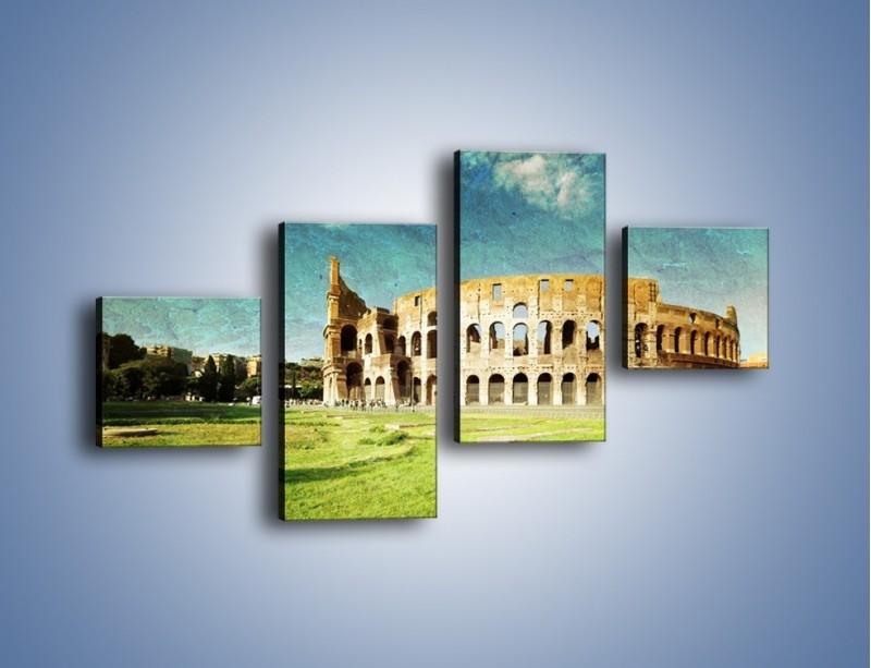 Obraz na płótnie – Koloseum w stylu vintage – czteroczęściowy AM503W3