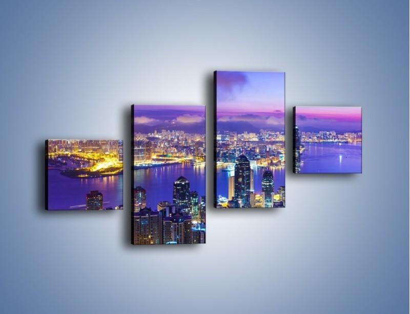 Obraz na płótnie – Wieczorna panorama Hong Kongu – czteroczęściowy AM505W3
