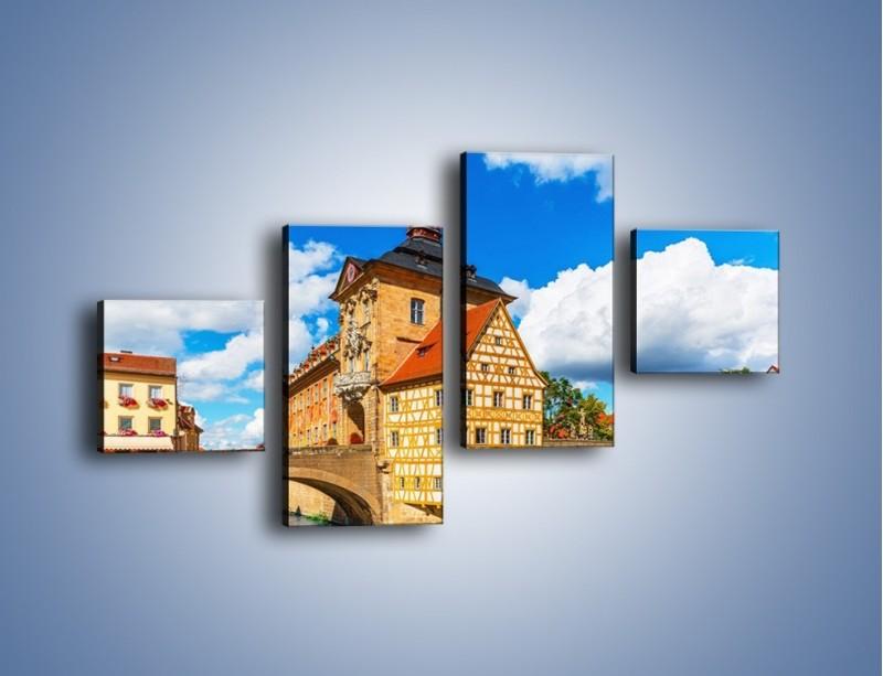 Obraz na płótnie – Ratusz w mieście Bamberg – czteroczęściowy AM513W3