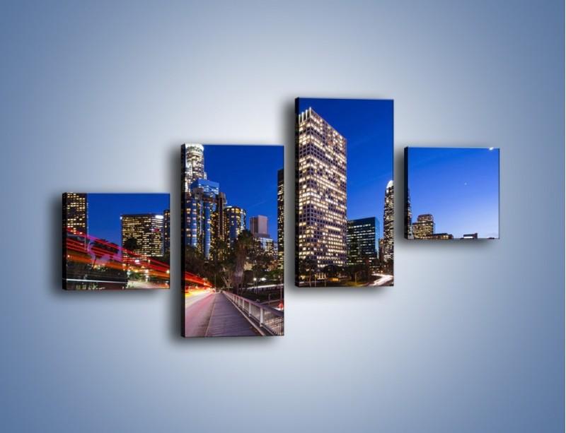 Obraz na płótnie – Los Angeles w wieczornych światłach – czteroczęściowy AM522W3