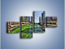 Obraz na płótnie – Chicago River w Dzień św. Patryka – czteroczęściowy AM605W3