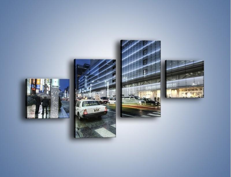 Obraz na płótnie – Ulica Tokyo w deszczu – czteroczęściowy AM613W3