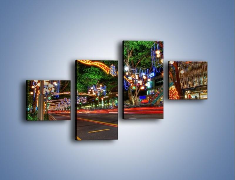 Obraz na płótnie – Noworoczne dekoracje w Singapurze – czteroczęściowy AM616W3