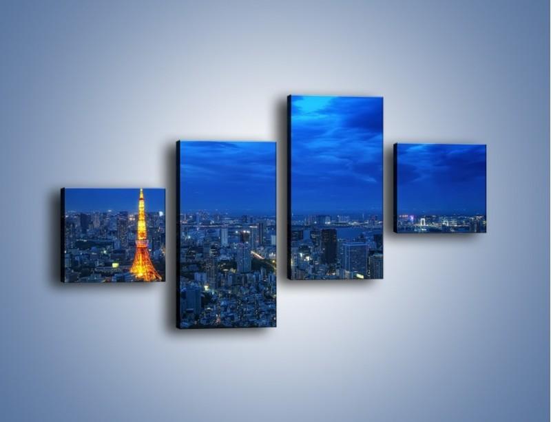 Obraz na płótnie – Tokyo Tower w Japonii – czteroczęściowy AM621W3