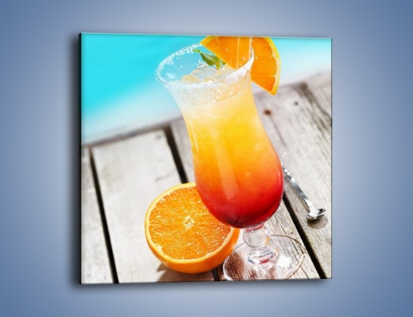 Obraz na płótnie – Pomarańczowy drink przy basenie – jednoczęściowy kwadratowy JN322
