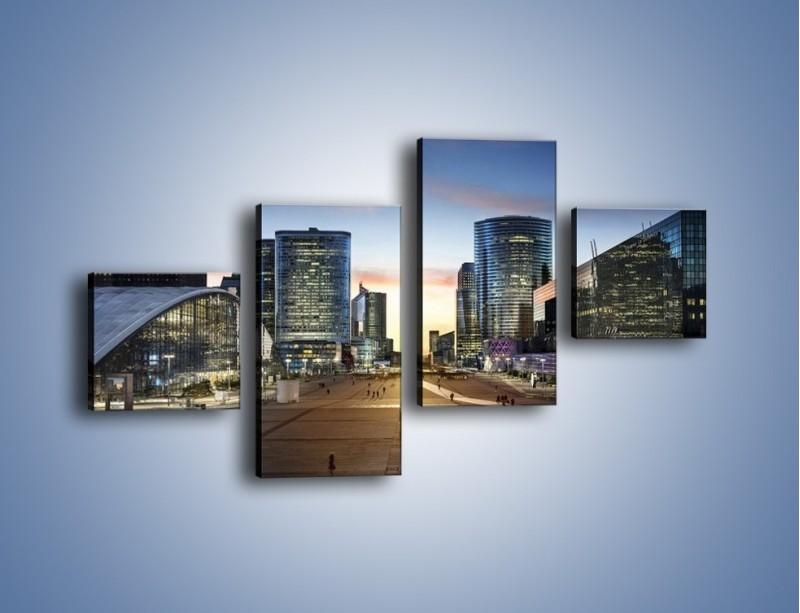 Obraz na płótnie – Quartier La Défense w Paryżu – czteroczęściowy AM647W3