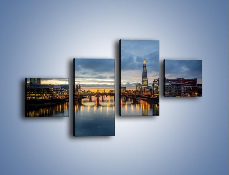 Obraz na płótnie – Millennium Bridge w Londynie – czteroczęściowy AM651W3