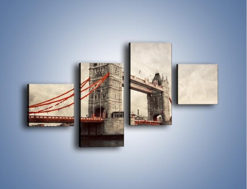 Obraz na płótnie – Tower Bridge w stylu vintage – czteroczęściowy AM668W3