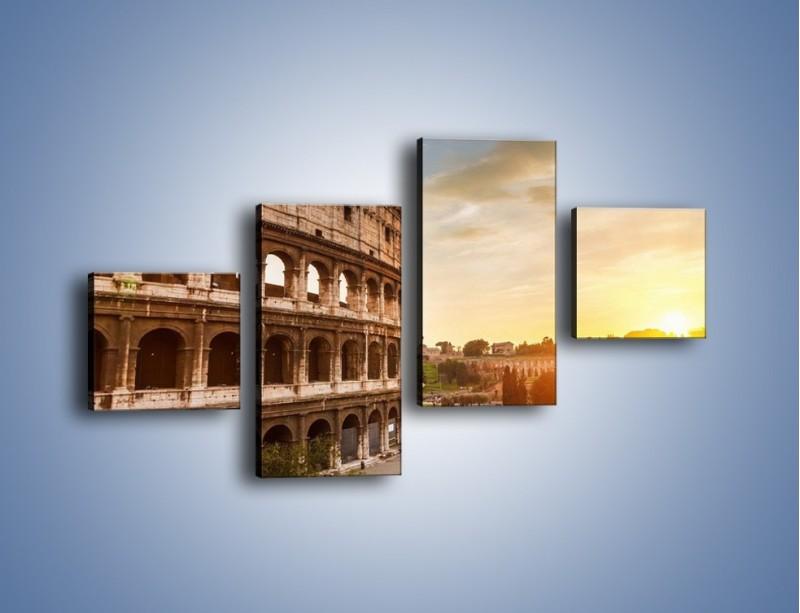 Obraz na płótnie – Rzymskie Koloseum o zachodzie słońca – czteroczęściowy AM684W3