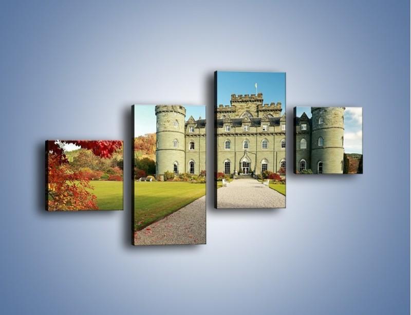 Obraz na płótnie – Zamek Inveraray w Szkocji – czteroczęściowy AM691W3
