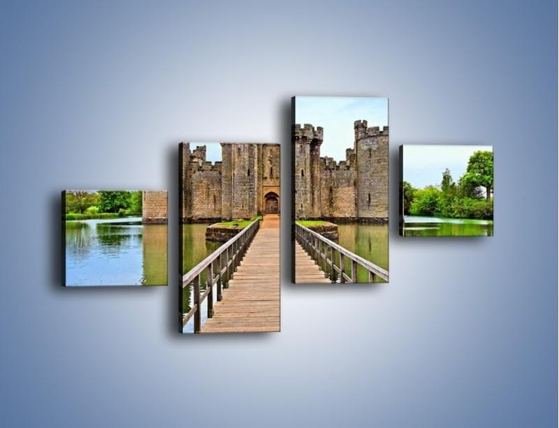 Obraz na płótnie – Zamek Bodiam w Wielkiej Brytanii – czteroczęściowy AM692W3