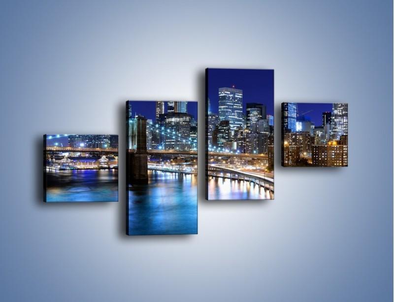 Obraz na płótnie – Nocne światła Nowego Yorku – czteroczęściowy AM726W3