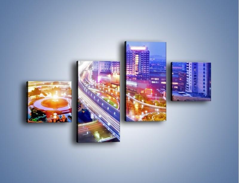 Obraz na płótnie – Rozświetlona miejska estakada – czteroczęściowy AM729W3