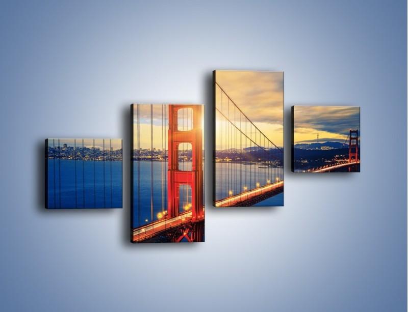 Obraz na płótnie – Zachód słońca nad Mostem Golden Gate – czteroczęściowy AM738W3