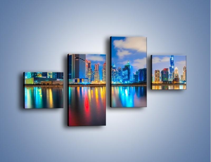 Obraz na płótnie – Kolory Dubaju odbite w wodzie – czteroczęściowy AM740W3