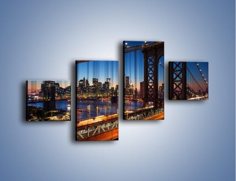 Obraz na płótnie – Nowojorskie mosty na tle Manhattanu – czteroczęściowy AM751W3