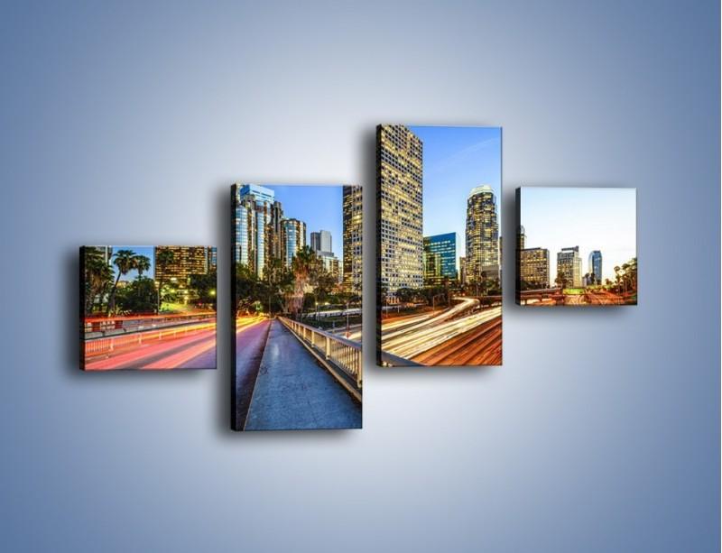 Obraz na płótnie – Światła Los Angeles o zmierzchu – czteroczęściowy AM753W3