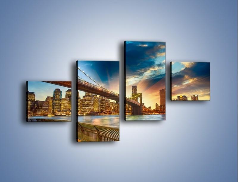 Obraz na płótnie – Most w Nowym Jorku o zmierzchu – czteroczęściowy AM754W3