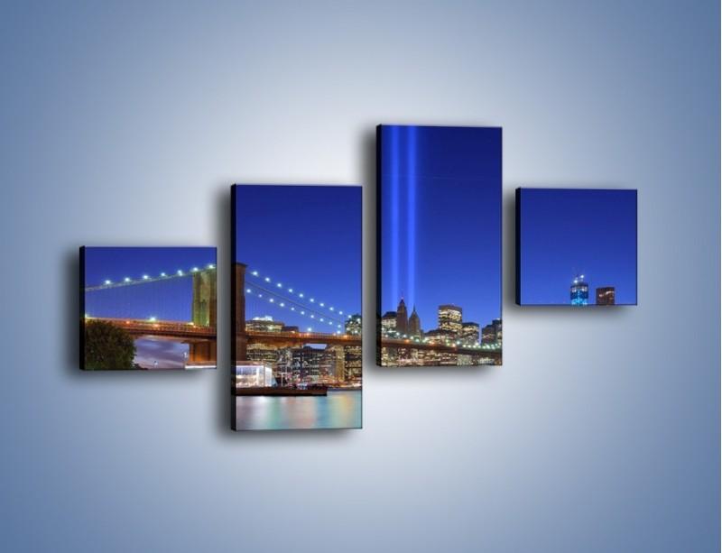 Obraz na płótnie – Świetlne kolumny w Nowym Jorku – czteroczęściowy AM757W3