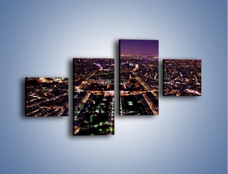 Obraz na płótnie – Panorama Paryża z Wieży Eiffla – czteroczęściowy AM764W3