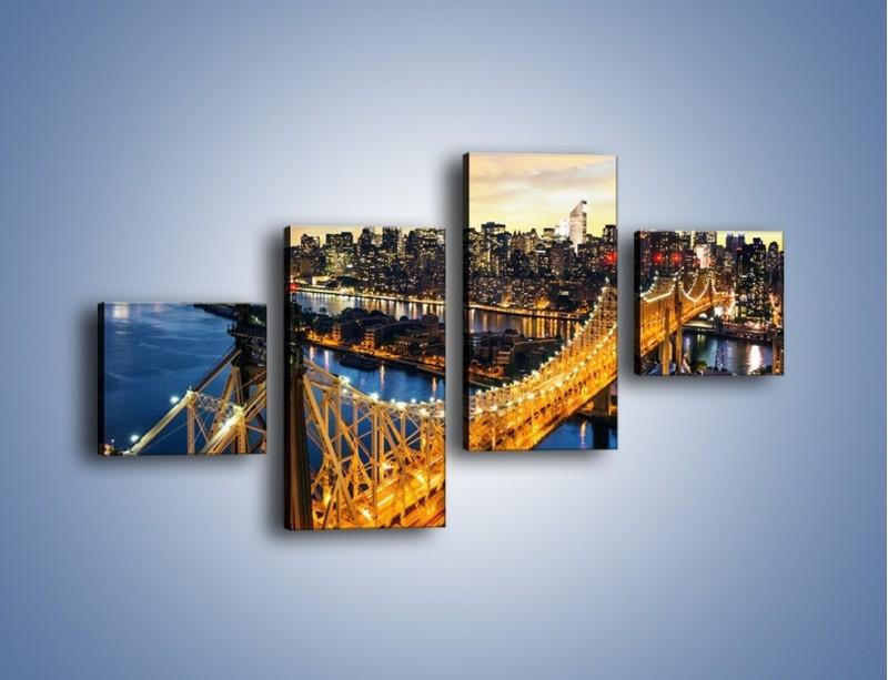 Obraz na płótnie – Queensboro Bridge w Nowym Yorku – czteroczęściowy AM768W3