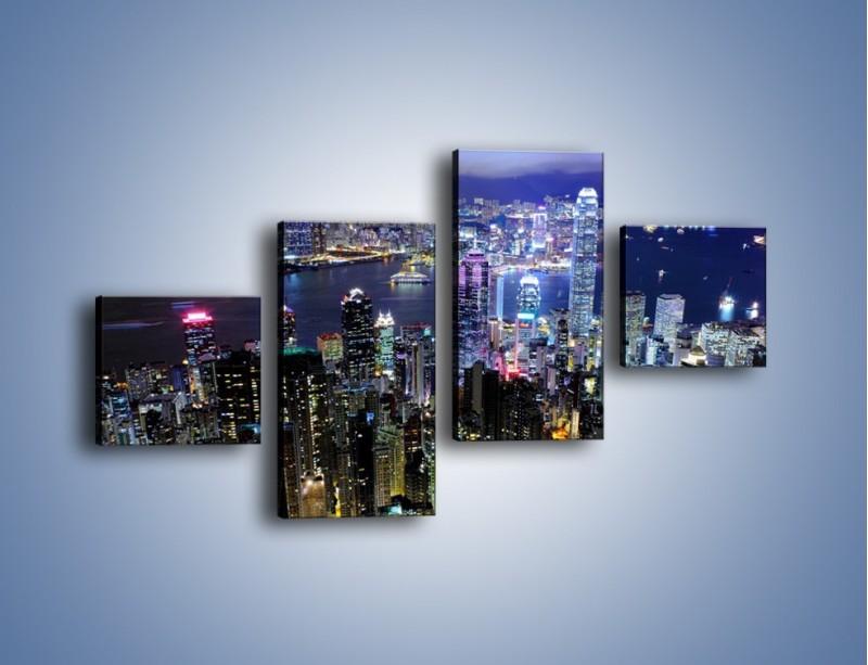Obraz na płótnie – Nocna panorama Hong Kongu – czteroczęściowy AM772W3