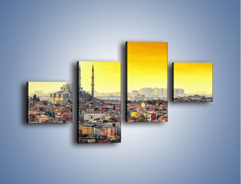 Obraz na płótnie – Zachód słońca nad Stambułem – czteroczęściowy AM788W3