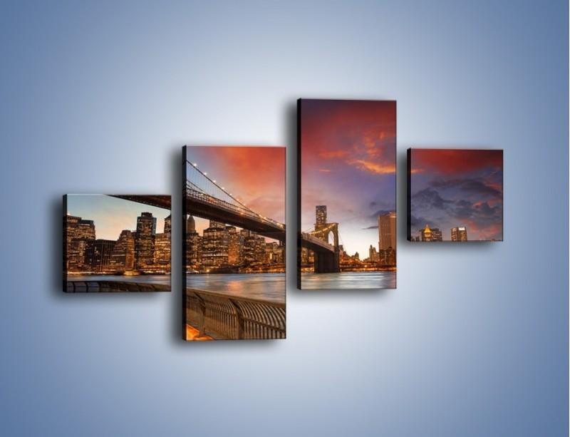 Obraz na płótnie – Zmierzch nad Mostem Brooklińskim – czteroczęściowy AM793W3