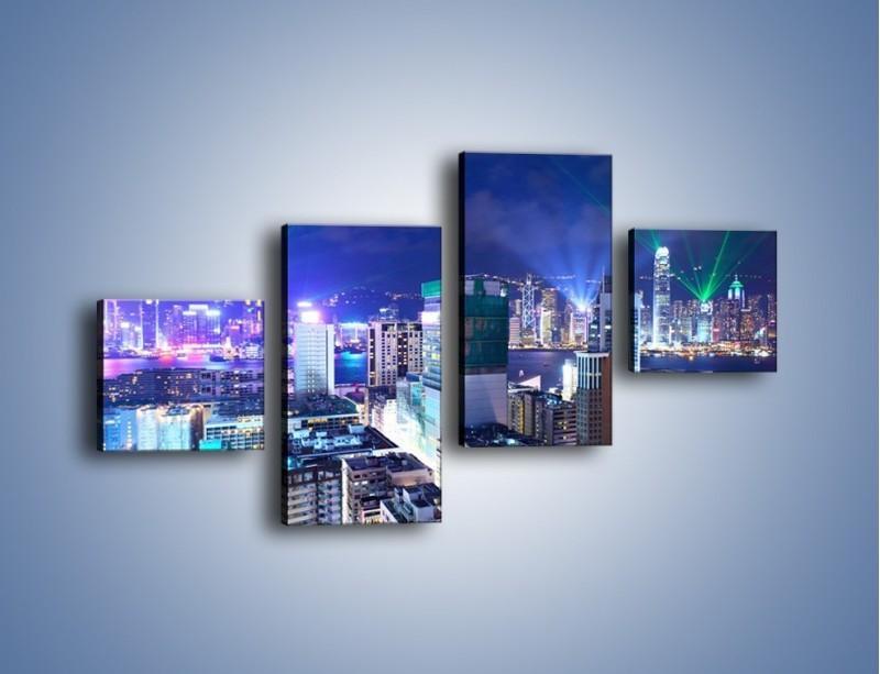 Obraz na płótnie – Pokaz laserów nad Hong Kongiem – czteroczęściowy AM796W3