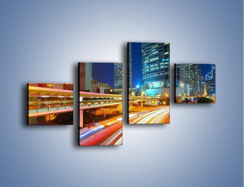 Obraz na płótnie – Nocne kolory miasta – czteroczęściowy AM808W3