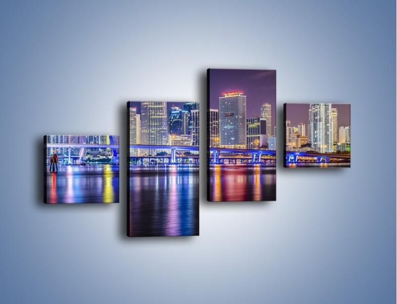Obraz na płótnie – Światla Miami w odbiciu wód Biscayne Bay – czteroczęściowy AM813W3